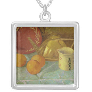 Still Life with Fruit & Pitcher or Silver Plated Necklace