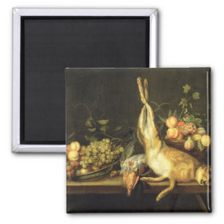 Still Life with Game and Fruit 2 Inch Square Magnet