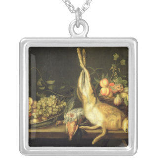 Still Life with Game and Fruit Silver Plated Necklace