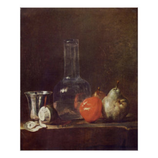 Still Life with Glass and fruits by Jean Chardin Posters