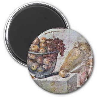 Still Life With Glass Bowl Of Fruit And Vases, 2 Inch Round Magnet