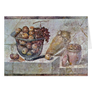 Still Life With Glass Bowl Of Fruit And Vases, Greeting Card