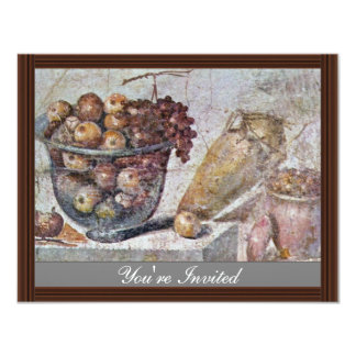 Still Life With Glass Bowl Of Fruit And Vases, 4.25x5.5 Paper Invitation Card
