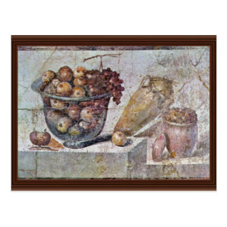 Still Life With Glass Bowl Of Fruit And Vases, Postcard