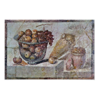 Still Life With Glass Bowl Of Fruit And Vases, Poster