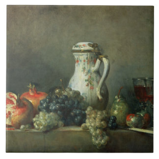 Still Life with Grapes and Pomegranates, 1763 (oil Ceramic Tile