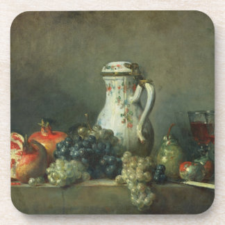 Still Life with Grapes and Pomegranates, 1763 (oil Drink Coaster