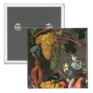 Still Life with Grapes, Birds and flowers 2 Inch Square Button