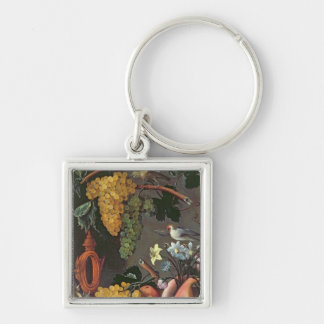 Still Life with Grapes, Birds and flowers Keychain