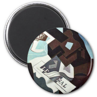 Still Life With Guitar Book And Newspaper By Gris 2 Inch Round Magnet