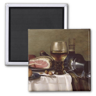 Still Life with Ham 2 2 Inch Square Magnet