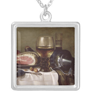 Still Life with Ham 2 Silver Plated Necklace