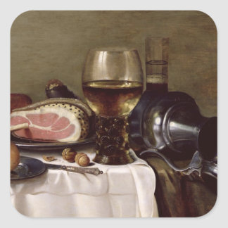 Still Life with Ham 2 Square Stickers