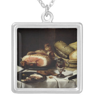 Still Life with Ham Silver Plated Necklace