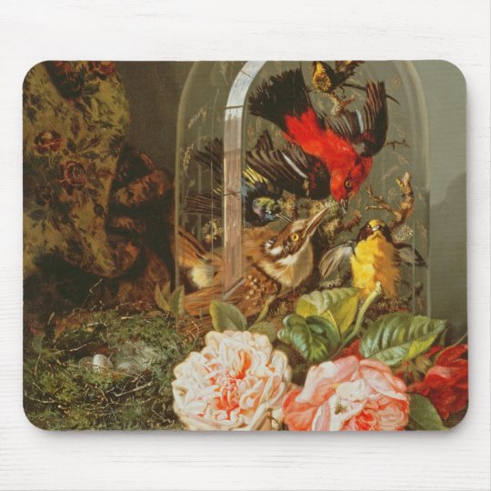 Still Life with Humming Bird in a Glass Dome Mouse Pad