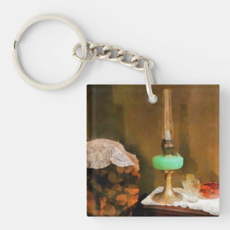 Still Life With Hurricane Lamp Double-Sided Square Acrylic Keychain