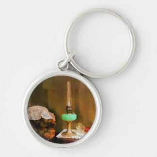 Still Life With Hurricane Lamp Silver-Colored Round Keychain