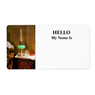 Still Life With Hurricane Lamp Label