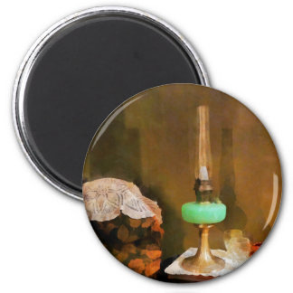 Still Life With Hurricane Lamp 2 Inch Round Magnet