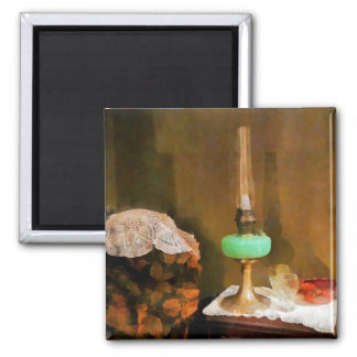 Still Life With Hurricane Lamp 2 Inch Square Magnet