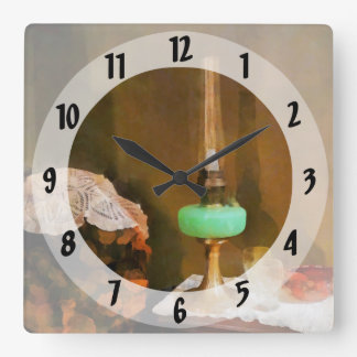 Still Life With Hurricane Lamp Square Wall Clock