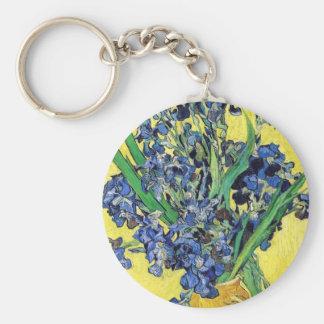 Still Life with Irises Vincent van Gogh Basic Round Button Keychain