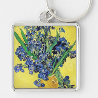 Still Life with Irises Vincent van Gogh Silver-Colored Square Keychain