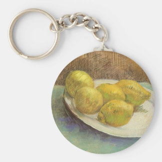 Still Life with Lemons on Plate; Vincent van Gogh Basic Round Button Keychain