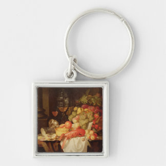 Still Life with Lobster Silver-Colored Square Keychain