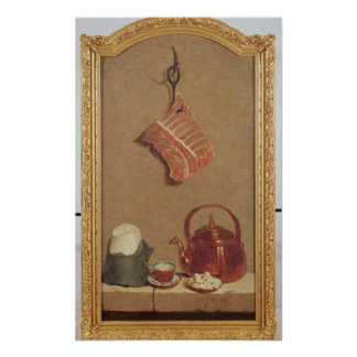 Still Life with meat, kettle and cup Poster