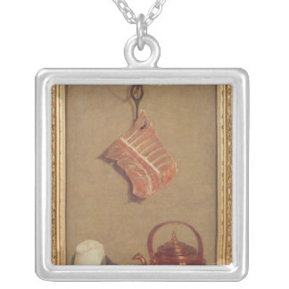 Still Life with meat, kettle and cup Silver Plated Necklace