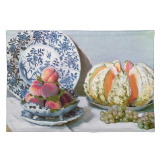 Still Life with Melon, 1872 Claude Monet Cloth Placemat