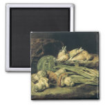 Still Life with Mushrooms 2 Inch Square Magnet