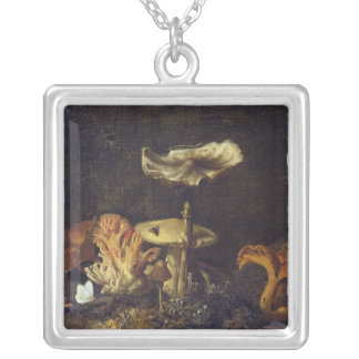 Still Life with Mushrooms and Butterflies Silver Plated Necklace