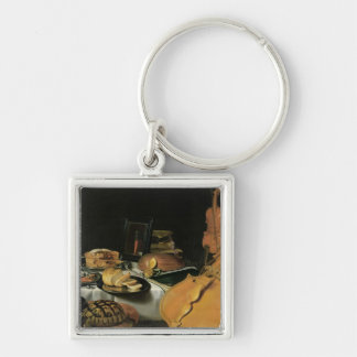 Still Life with Musical Instruments, 1623 Silver-Colored Square Keychain