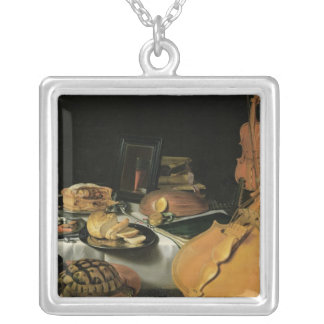 Still Life with Musical Instruments, 1623 Silver Plated Necklace