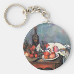 Still life with onions - Paul Cézanne Basic Round Button Keychain