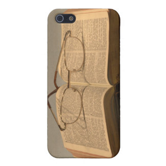 Still life with open bible and reading glasses iPhone 5 case