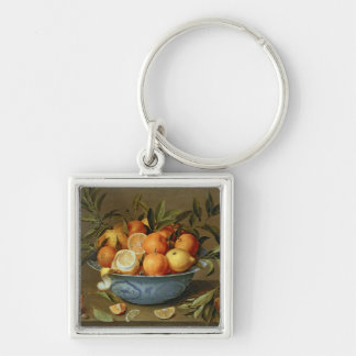 Still Life with Oranges and Lemons Silver-Colored Square Keychain