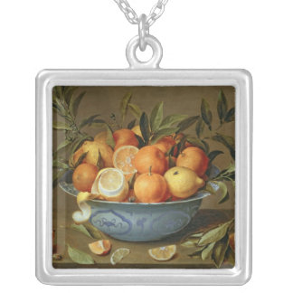 Still Life with Oranges and Lemons Square Pendant Necklace