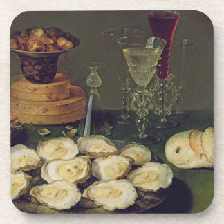 Still Life with Oysters and Glasses (oil on panel) Coaster