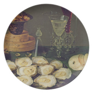 Still Life with Oysters and Glasses (oil on panel) Plate