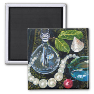 Still Life with Pearls 2 Inch Square Magnet