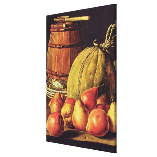 Still Life with pears, melon and barrel Canvas Print