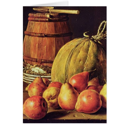 Still Life with pears, melon and barrel Card