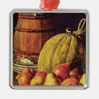 Still Life with pears, melon and barrel Metal Ornament