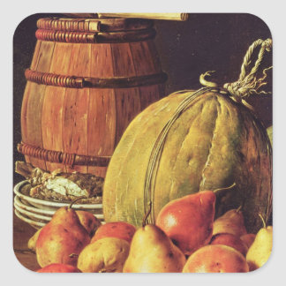 Still Life with pears, melon and barrel Square Sticker