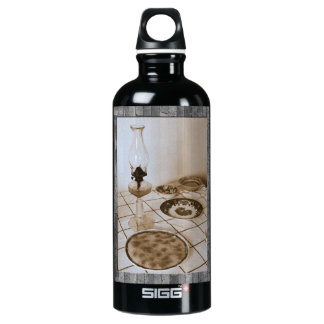 Still life with petrol lamp SIGG traveler 0.6L water bottle