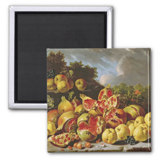 Still Life with pomegranates 2 Inch Square Magnet