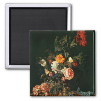 Still Life with Poppies and Roses 2 Inch Square Magnet